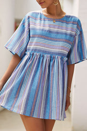 Weststylish O Neck Pinstripe Mini Dress