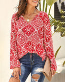 Weststylish V-Neck Printed Chiffon Shirt
