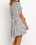 Weststylish O Neck Short Sleeve Striped Print Dress