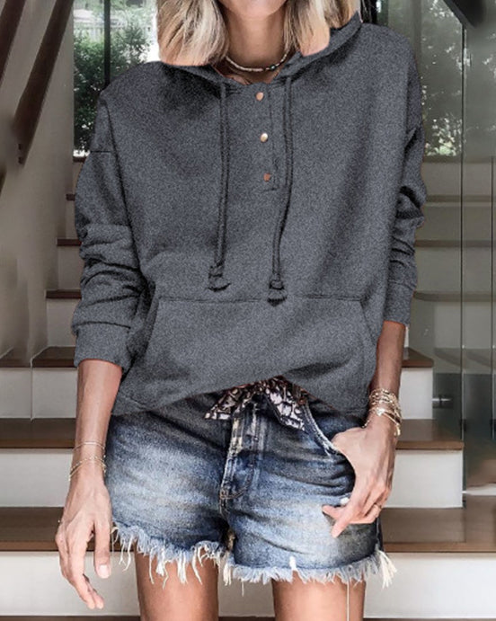 Weststylish Solid Color Casual Loose Hoodie