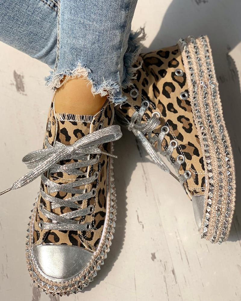 Leopard Rivet Embellished Lace-Up Sneakers