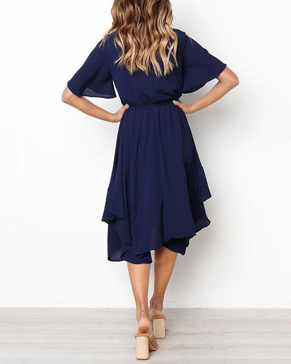 Weststylish Daily Round Neck Flared Sleeves Mid Calf Dress
