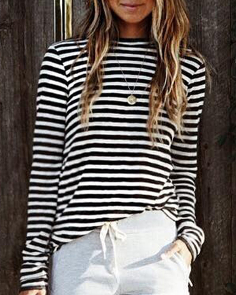 Weststylish Round Neck Striped Long Sleeve T-shirt