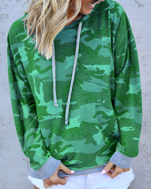 Weststylish Hooded Collar Camouflage Printed Hoodie