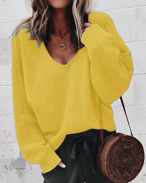 Weststylish V-Neck Long-Sleeved Loose-Fitting Knit Bottoming Shirt