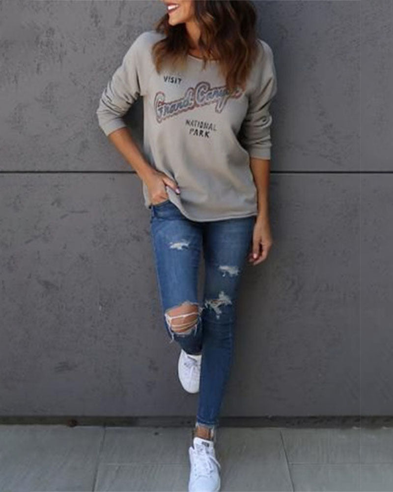 Weststylish One-Shoulder Letter Printed Long-Sleeved SweatShirt