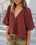 Weststylish V Neck Half Sleeve Loose Blouse