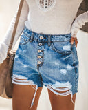 High Waist Full Spray Craft Denim Shorts