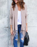 Weststylish Autumn And Winter Lapel Cashmere Long Sleeve Tassel Cardigan Coat