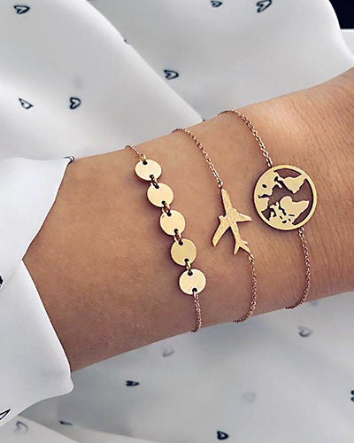 Weststylish Airplane Map Multi-Layered  Bracelet