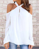 Weststylish Solid Color Halter Chiffon Shirt
