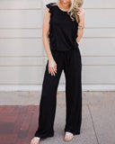 Weststylish Solid Color Ruffled Jumpsuit