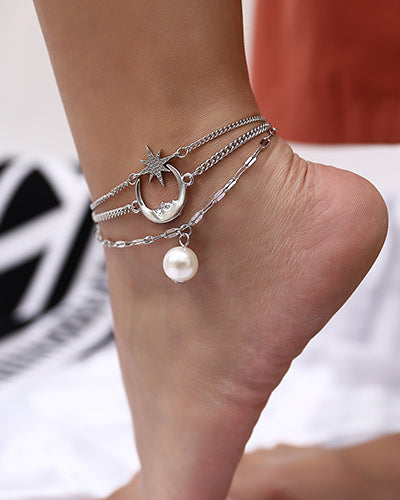 Weststylish Geometric Moon Star Pearl Anklet