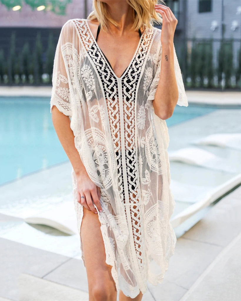 V-Neck Lace Sunscreen Blouse