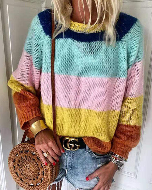 Weststylish Round Neck Contrast Color Stripe Sweater