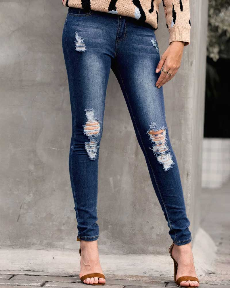 Stylish Wild Denim Ripped Jeans