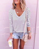 Weststylish Striped V-neck Long-sleeved T-shirt