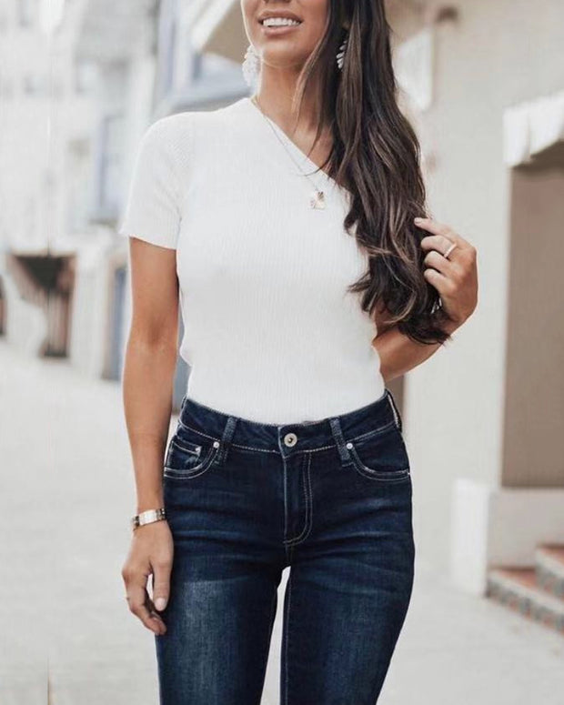 Off Shoulder knit T-shirt