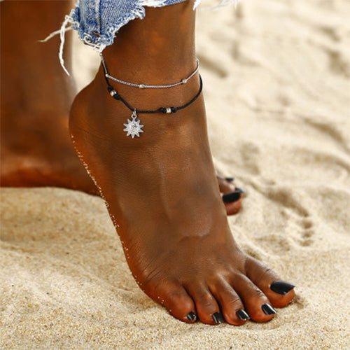 Weststylish Sun Pendant Beads Anklet