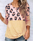 Weststylish Round Neck Print Stitching Loose Casual Long-Sleeved T-Shirt