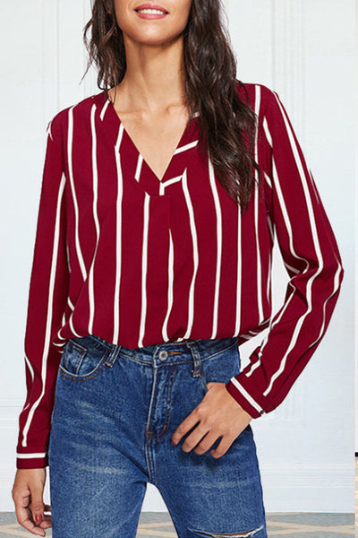 Weststylish V-Neck Long Sleeve Striped Red Shirt