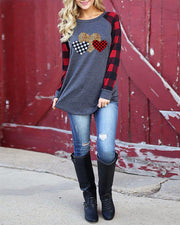 Weststylish Casual Round Neck Long Sleeve Plaid Leopard Patchwork Love Print T-Shirt