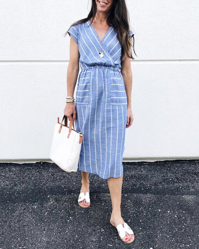V-Neck Belt Stripe Short Sleeve Patch Pocket Dress