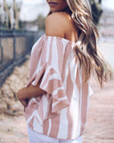 Weststylish Off Shoulder Tie Striped Chiffon Blouses