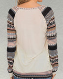 Weststylish Printed Stitching Round Neck Long Sleeve Loose Long Sleeve T-Shirt