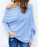 Weststylish Off Shoulder Bat Sleeve Solid Sweater