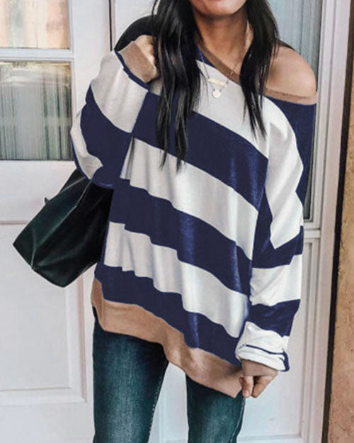 Weststylish Autumn And Winter New Loose Striped Long-Sleeved Sweatshirt