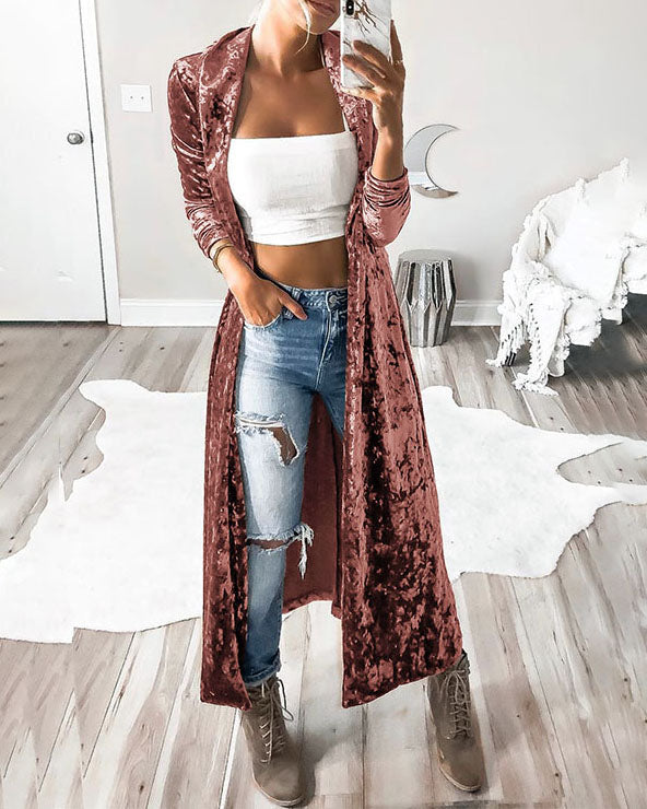 Weststylish Velvet Long Section Coat (3Colors)