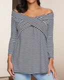 Weststylish One-Shoulder Striped T-Shirt