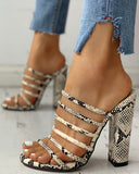 Snakeskin Multi-Stap Chunky Heeled Sandals