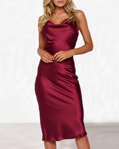 Sexy Simulation Silk Slim Solid Color Dress(4 Colors)