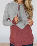 Weststylish Drawstring Hooded Colorblock Long-Sleeved Hoodies