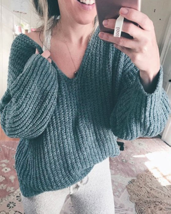 Weststylish V-Neck Green Sweater