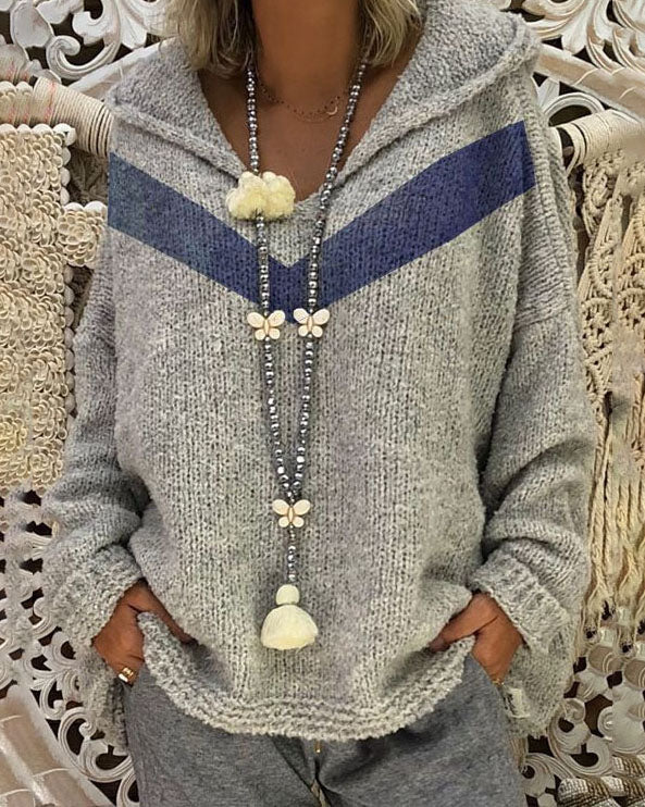 Weststylish V-Neck Hooded Grey Sweater Without Necklace (3 Colors)
