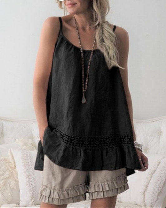Lace panel round neck camisole
