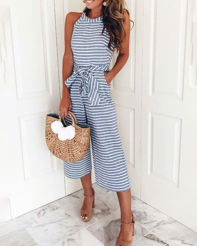 Weststylish Bohemian Round Neck Striped Blue Cotton Blends One-piece Jumpsuits