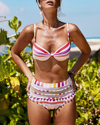 Sexy Striped Colorblock Bikini Set