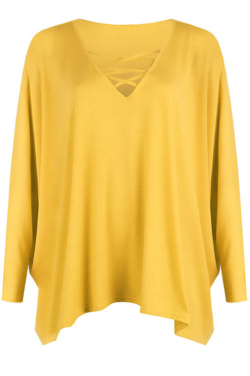Weststylish V-Neck Long-Sleeved Bat Blue T-Shirt (3 Colors)