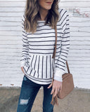 Weststylish O Neck Striped Patchwork Sweater