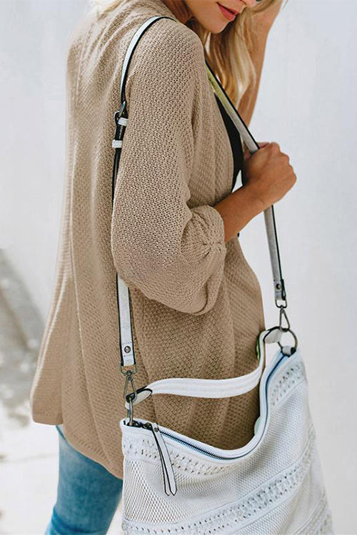 Weststylish Casual Loose Long Sleeve Khaki Sweater Coat (2 Colors)