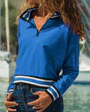 Weststylish Stand Collar Zipper Long Sleeve Sweatshirt