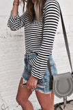 Weststylish Round Neck Black And White Striped Bottoming Shirt