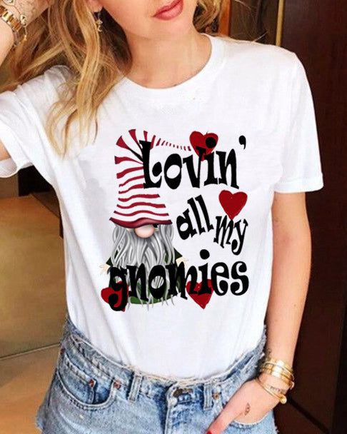 Valentine's Day Casual Round Neck Short Sleeve Dwarf Print T-Shirt(2 Types)