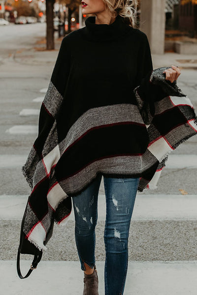 Weststylish Bat Sleeve Shawl Black Sweater