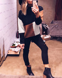 Weststylish Casual Patchwork Pullover Sweater