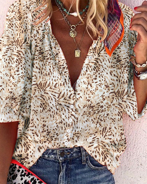 Weststylish Puff Sleeve Leopard Apricot Shirt